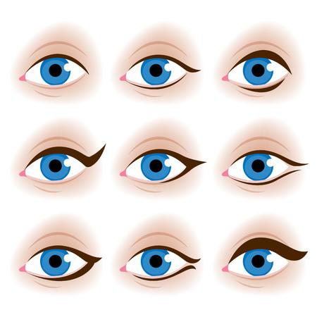 Realistic woman's eyes vector illustration. Make up tutorial design - eyeliner schemes.