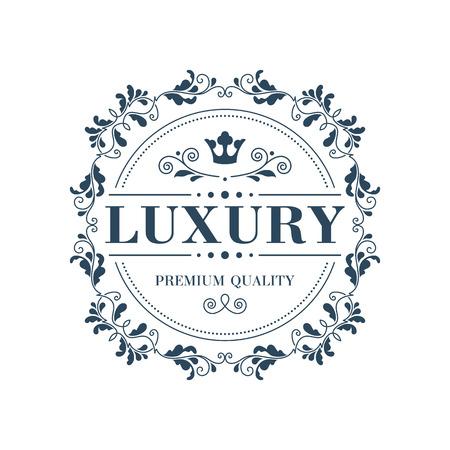 Flourish logo template glamour calligraphic monogram ornament label. Good for restaurant boutique hotel heraldic jewelry fashion emblem. Vector illustration.