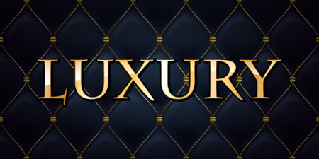 Luxury premium abstract quilted background, golden letters.