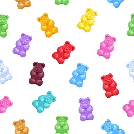 Illustration for Seamless colorful gummy bears candies background. Sweets vector pattern. - Royalty Free Image