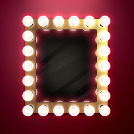 Illustration pour Realistic retro vintage make up mirror with light bulbs vector illustration. Beauty backstage design concept. - image libre de droit