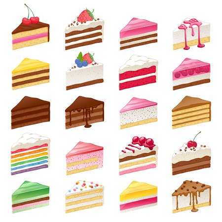 Vektor für Colorful sweet cakes slices pieces set hand drawn vector illustration. - Lizenzfreies Bild