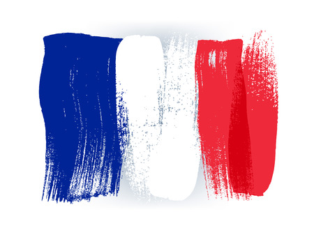 Illustration pour France colorful brush strokes painted national country french flag icon. Painted texture. - image libre de droit