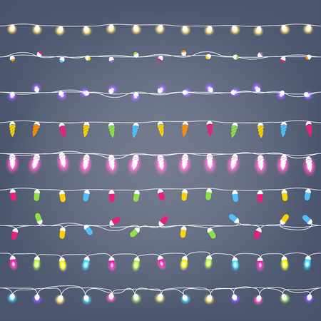 garlands seamless horizontal borders set party new year christmas birthday decorations garlands lights design
