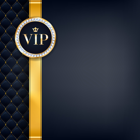 Illustration pour VIP party premium invitation card poster flyer. Black and golden design template. Quilted pattern decorative background with gold ribbon and round badge. - image libre de droit