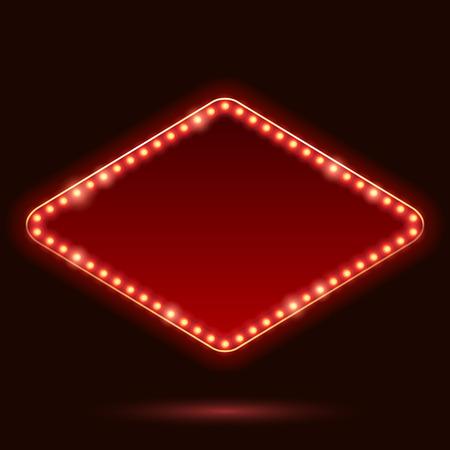 Illustration pour Light bulbs vintage neon glow square rhombus frame vector illustration. Good for cinema show theatre circus casino design. - image libre de droit
