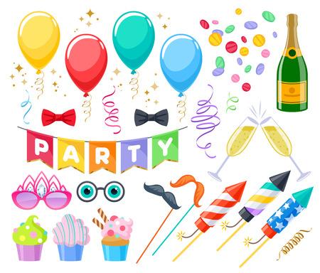 Illustration pour Celebration party carnival festive icons set. Colorful symbols - cupcakes, bows, glasses, balloons, champagne, fireworks and flags - image libre de droit