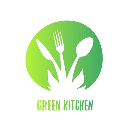 Illustration pour Eco food symbol concept. Green vegan cooking. - image libre de droit