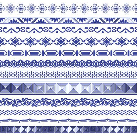 Illustration pour Chinese porcelane seamless borders vector set. - image libre de droit