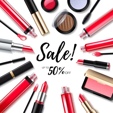 Illustration pour Make-up cosmetics sale background with lips and eyes products. - image libre de droit