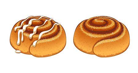Illustration for Cinnamon rolls set in cartoon style vector illustration. - Royalty Free Image