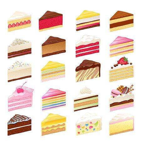 Illustration pour Colorful sweet cakes slices set vector illustration. - image libre de droit