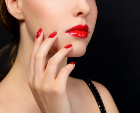 Makeup and manicure  Girl with beautiful make-up