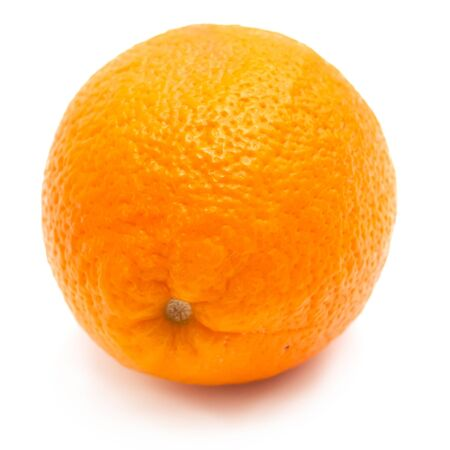 Single orange on white background