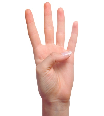 Woman hand showing number four isolated