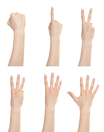 Woman hand gesture set counting numbers from zero to five