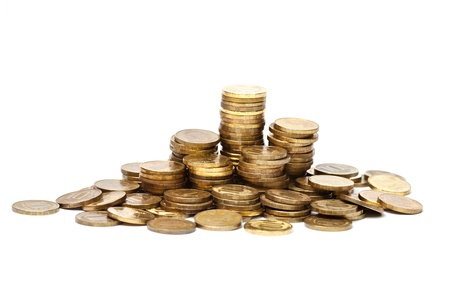 Pile of golden coins on white background