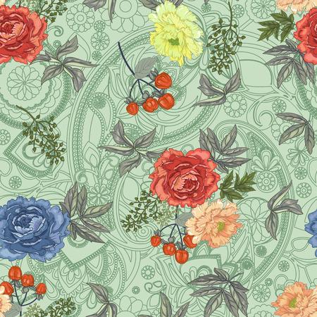 Photo pour seamless flower with leaves pattern - image libre de droit