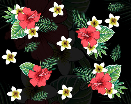 Photo for topical floral pattern black background - Royalty Free Image