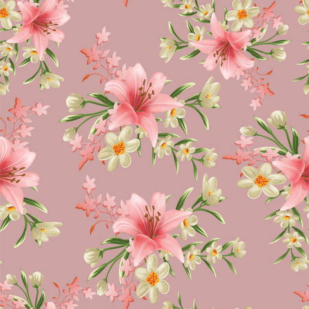 Foto per seamless flower branches with leaf pattern - Immagine Royalty Free