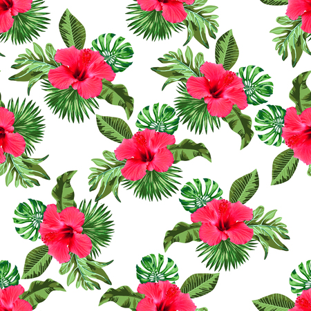 Photo for Seamless flower and leaves pattern - Royalty Free Image