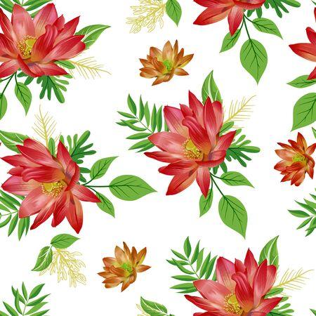 Photo pour Seamless flower and leaves pattern - image libre de droit