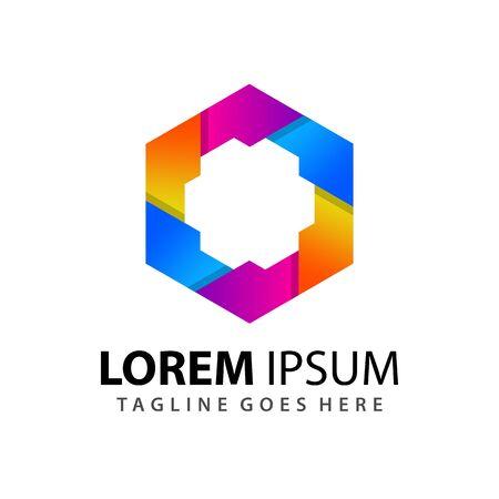 Ilustración de Gradient Hexagon Gear Company Modern Logo Design Template Vector - Imagen libre de derechos