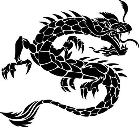Illustration pour Tribal Tattoo Dragon Vector Illustration - image libre de droit
