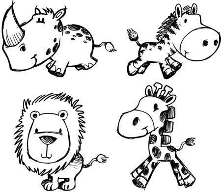 Sketchy Safari Set Illustration