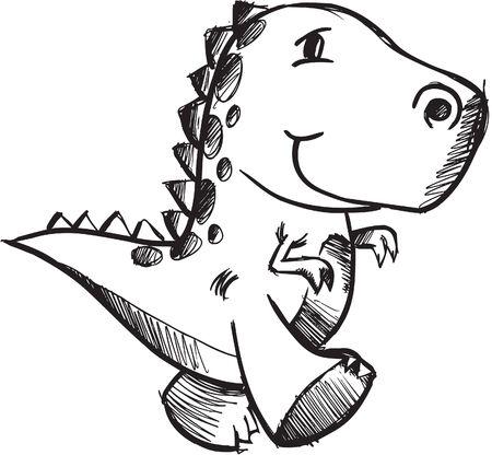 Sketchy doodle Dinosaur Illustration