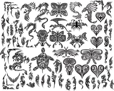 Illustration pour Iconic Dragons Butterfly Eagle Tattoo Tribal - image libre de droit