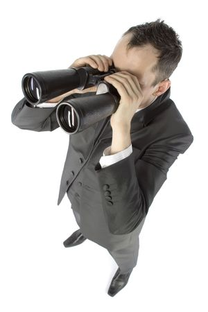 business concept - businessman with binoculars