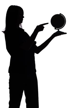 isolated on white silhouette of woman with globe