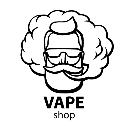 Illustration pour Hand-drawn hipster with mustache and beard. Man with vape and cloud. Electronic Cigarette. Vector. Stickers. logo. Emblem - image libre de droit