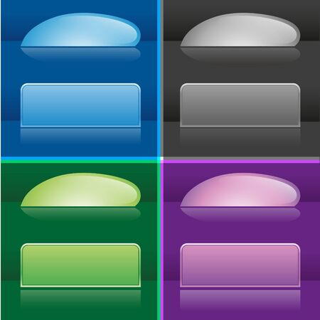 set of realistic glossy web buttons on dark background