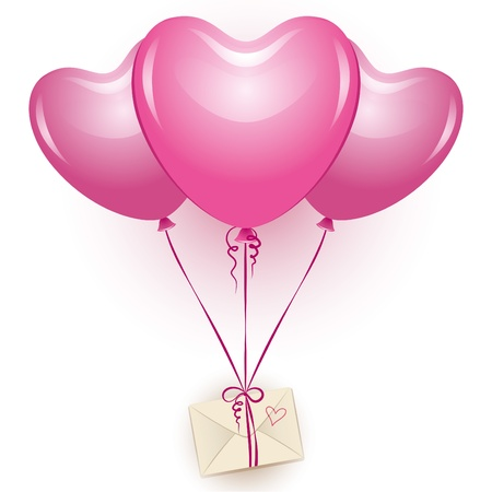 Ilustración de three beautiful pink balloons with beige envelope - Imagen libre de derechos