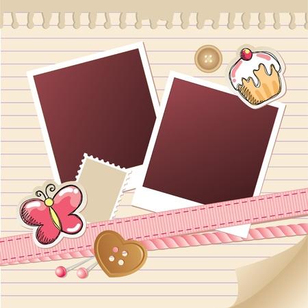 Ilustración de beige frame for photos with scrapbook elements - Imagen libre de derechos