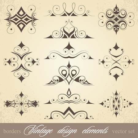vintage design elements, borders and curls, vector setのイラスト素材
