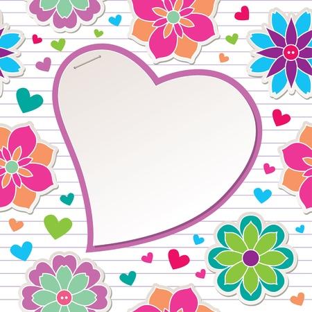 Ilustración de romantic frame with flowers and paper heart - Imagen libre de derechos