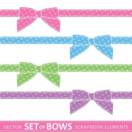 Ilustración de set of cartoon bows, digital scrapbooking elements - Imagen libre de derechos