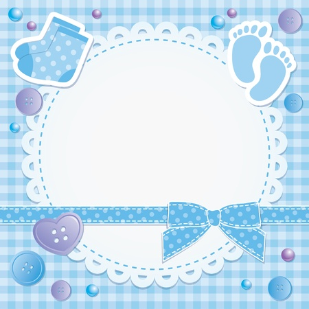 Illustration for baby frame with blue bow and stickers - Royalty Free Image
