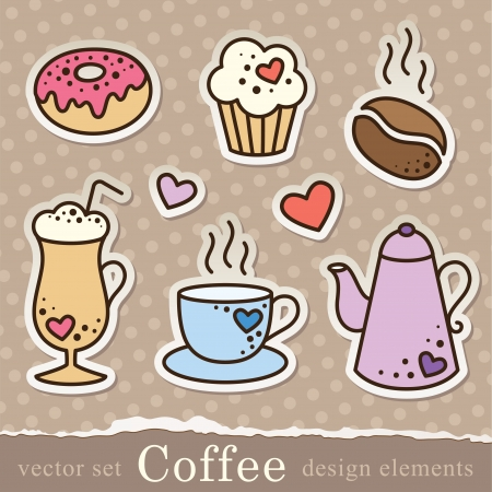 set of coffee stickers, vintage elements for scrapbook design