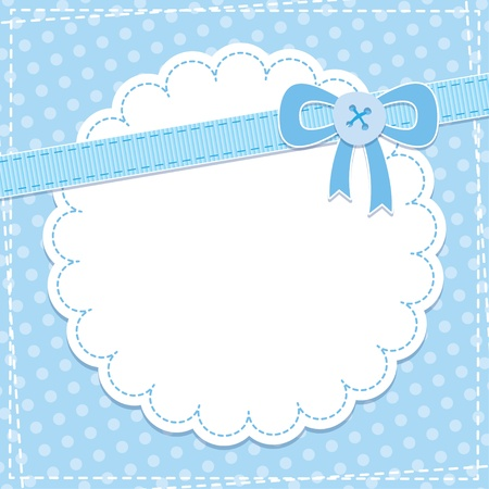 baby frame with blue bow and button