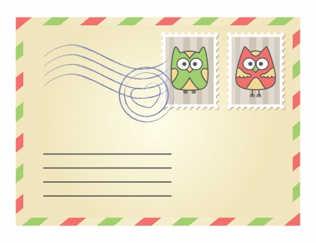 beige envelope with postage stamps on white background