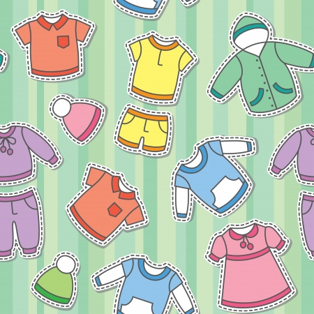 seamless pattern of children s clothes on green background