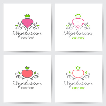 Vector logo set of beet and tomato for vegetarian cafe or vegetables shop, mono line style