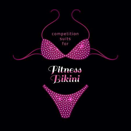 fitness bikini competition suit with rhinestones on black background