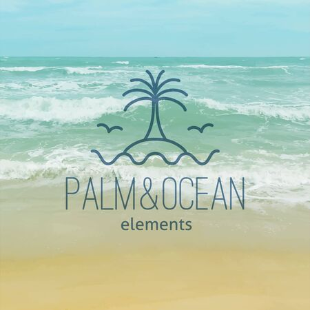 summer logo for travel agency or hotel  Palm, seagulls, island and