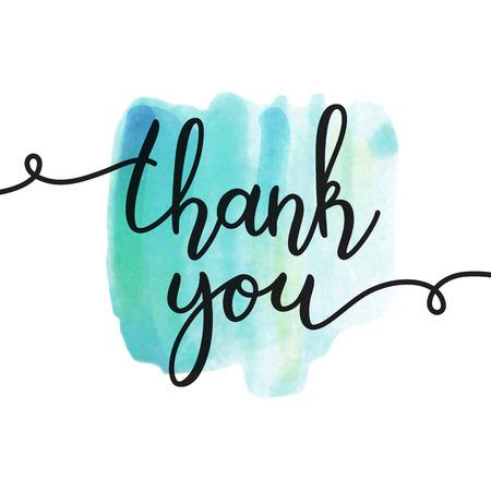 Ilustración de thank you lettering, vector handwritten text, card template - Imagen libre de derechos