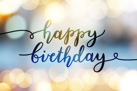 Ilustración de happy birthday, vector lettering, greeting card template - Imagen libre de derechos